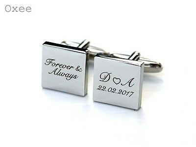 Engraved cufflinks, personalized groom wedding gift, forever and always
