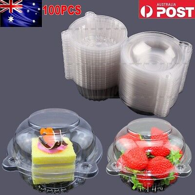 100x Clear Plastic Single Cupcake Cake Case Muffin Dome Holder Box Container
