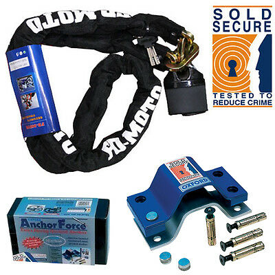 Motorbike Chain Lock 1.2M + Oxford Anchor Force Ground Anchor SOLD SECURE Gold