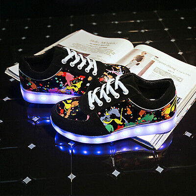 LED Night Light Up Couples Mens Women Sport Casual Lace Up Shoes Sneakers