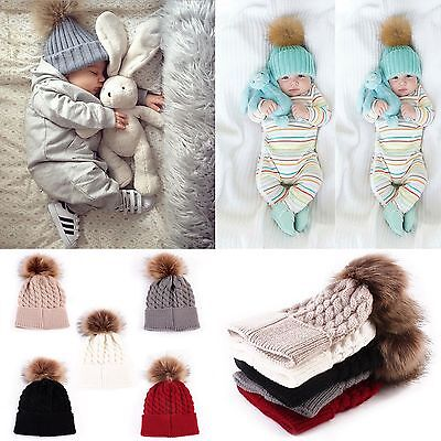 Toddler Baby Girls &MOM Warm Winter Knit Beanie Fur Pom Hat Crochet Ski Ball Cap
