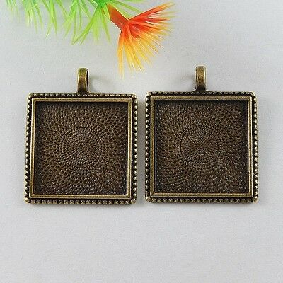19x Antiqued Bronze Alloy Square 25MM Cameo Base Tray Charms Jewelry Accessories