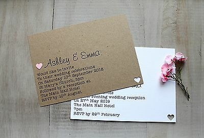 50 Handmade Personalised Wedding Invitations Day/Evening Any Colour Heart