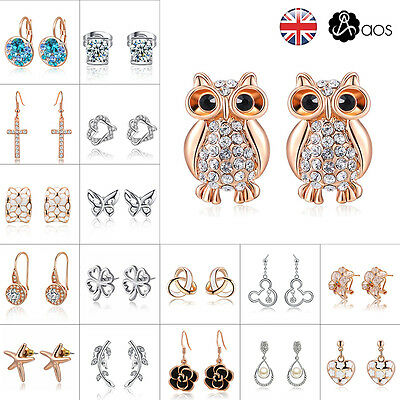 Aos Women 925 Sterling Silver Filled Crystal Rhinestone Dangle Ear Stud Earrings