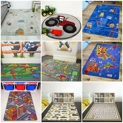 Childrens Boys Bedroom Playroom Floor Mat Baby Mat Kids Play Fun Rug Creche Rugs