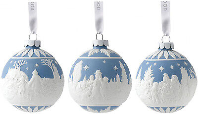 Wedgwood Jasper Hanging Christmas Tree Ornament Baubles (Set Of 3) - New/boxed