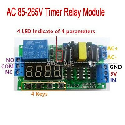 AC 85-265V Digital LED cycle timing delay Time Timer relay Module clock control