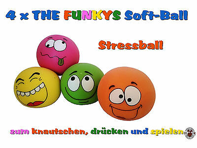 ��  4 x THE FUNKYS Soft-Ball  Anti Stressball Knetball Quetschball Knautschball