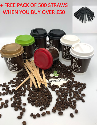 Disposable PAPER COFFEE CUPS DOUBLE WALLED 8oz & Sip Lids for Hot Drinks