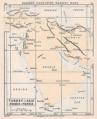 1895 Antique Map of the Middle East / the Balkans (2 maps on 1 sheet)