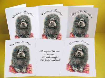 Chow Chow Puppy pack of 6 Dog Christmas Cards with a choice of 3 verse