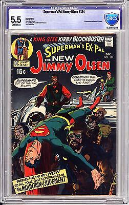 Superman's Pal Jimmy Olsen #134 Cbcs 5.5  Off White Pages   1St Darkseid!  Kirby