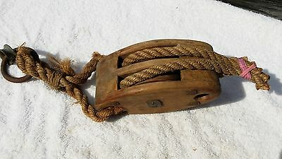 Vintage Primitive Wood Block and Tackle Pulley Iron Hook Farm  # 614