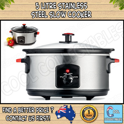 - New - Stainless Steel Slow Cooker - 5L - Removable Pot - Cool Handles -