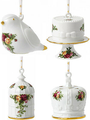 Royal Albert Old Country Roses Hanging Christmas Tree Ornaments (Set Of 4) - New