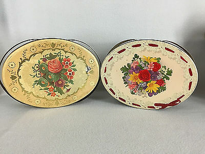 2 Vintage Metal Sewing Basket Oval Covered Tins With Double Handles