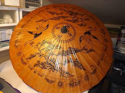 """VINTAGE LACQUERED RICE PAPER & BAMBOO ASIAN UMBRELLA  With HANDLE >39"""" Diameter"""
