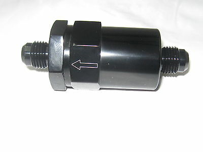06 an Show Polished Fuel Filter, inline cleanable element  Black anodized Alum