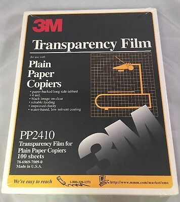 3M Transparency Film PP2410 For Plain Paper Copiers 100 Sheets Sealed