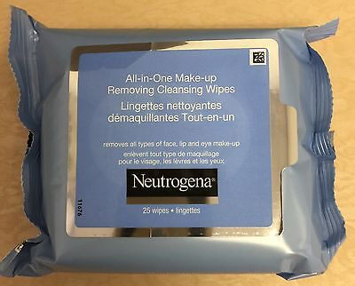 NEW, NEUTROGENA® All-in-One Make-Up Removing Cleansing 25 Wipes