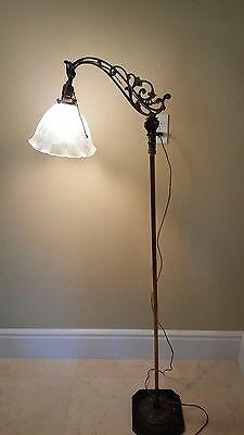 Antique Floor Lamp with Glass Shade