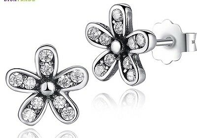 Dazzling daisy  stud earrings genuine sterling silver 925