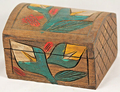 Vintage Mexican Wood Trinket Box Hand Made/Painted Folk Art Decorative Mexico
