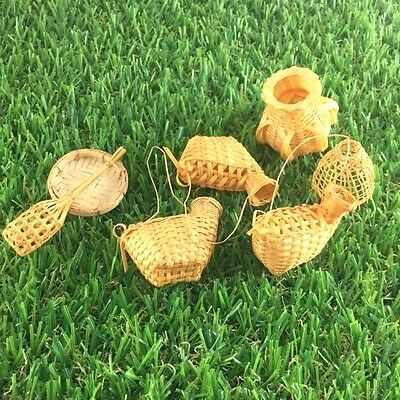 7 PCs MIXED VINTAGE CRAFT BAMBOO WEAVING WICKER MINIATURE THAI TRADITIONAL # 2