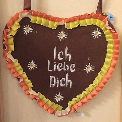 German Bavarian Women's Cute Oktoberfest Heart Purse Embroidery Ich Liebe Dich