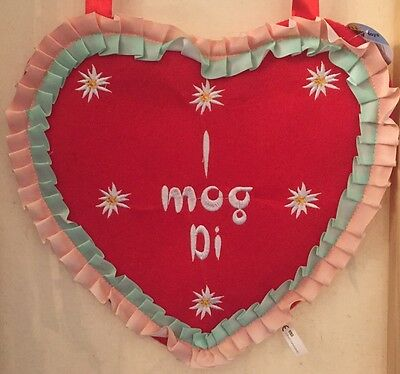 "German Bavarian Women's Cute Oktoberfest Heart Purse with Embroidery ""I Mog Di"""