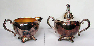 Vintage Mid-Century WM. Rogers Oneida Cream Pitcher and Sugar Bowl Silver Plated