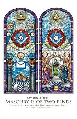 "11"" x 17"" Masonic Temple Art Print - Stained Glass Windows"