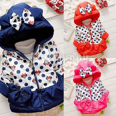 Toddler Baby Girl Winter Minnie Dot Hooded Warm Coat Puffer Jacket Kids Outwear