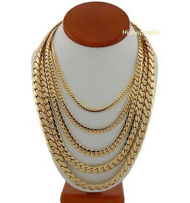 "Mens Miami Cuban link Chain 14k Gold Plated 5mm to 12mm wide 8"" 20"" 24"" 30"""