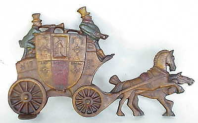 Antique Cast Iron London England Royal Mail Carriage / Stage Coach Door Stop