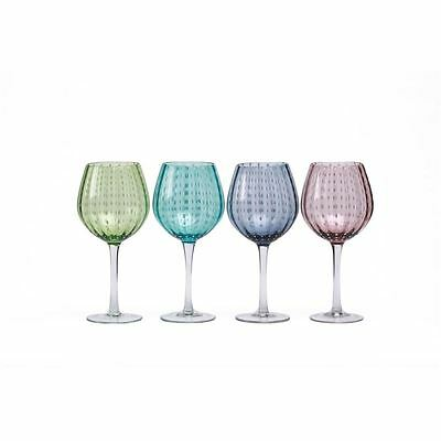 Circleware - White Rain Coloured Balloon 650ml Wine Glasses set of 4