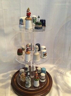 24Thimble Glass Dome for taller items  W/ Walnut Base(no thimbles) 5.5x13 #336tp