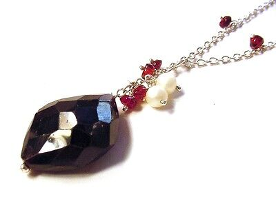 Beautiful Fancy 925 Sterling Silver 70cttw Faceted Garnet & Pearl Necklace F51