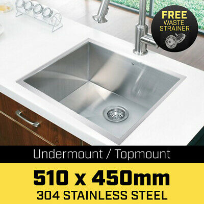 510x450mm Handmade Stainless Steel Undermount Topmount Kitchen Laundry Sink 304