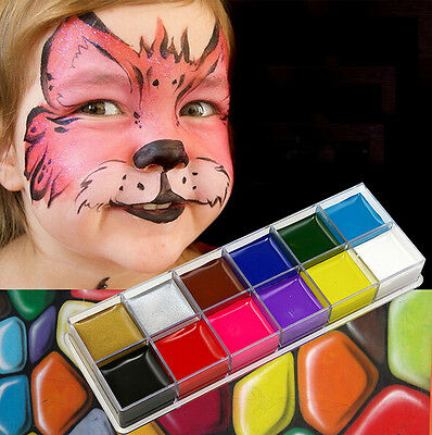 12 Colors Face Body Paint Oil Painting Art Make Up Halloween Party Kit Set