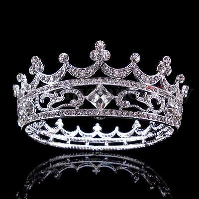 4cm High Full Crystal King Wedding Bridal Party Pageant Prom Tiara Round Crown