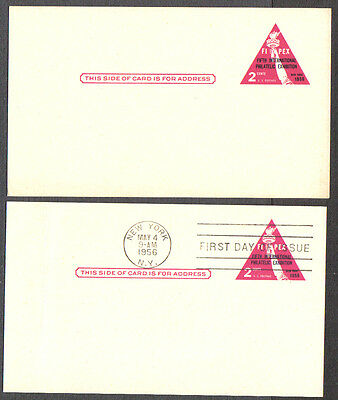 Us Fdc 1956 Fipex New York 2 Cents Postal Cards 1-First Day Of Issue