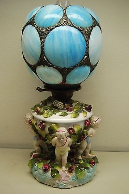 Antique Oil Kerosene Dresden Sitzendorf Porcelain Gwtw Cherub Slag Glass Lamp