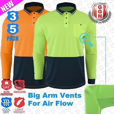 3x HI VIS SAFETY POLO SHIRT COOL BREATHABLE MICROMESH LONG SLEEVE Cool_Dry Wo...