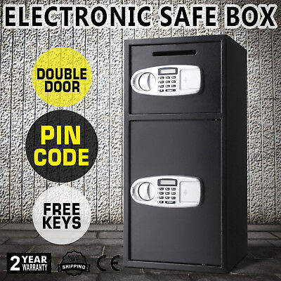Double Door Digital Security Deposit Drop Box Safe Storage Gun Deluxe Drop Slot