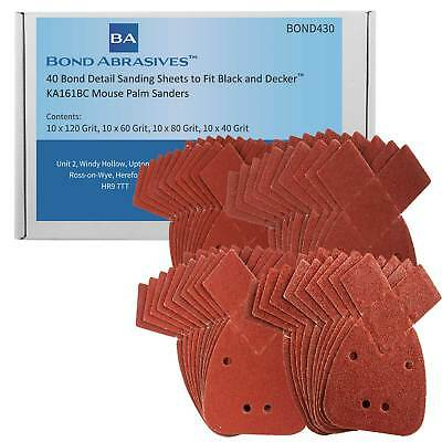 40 Bond Detail Sanding Sheets to Fit Black and Decker KA161BC Mouse Palm Sander