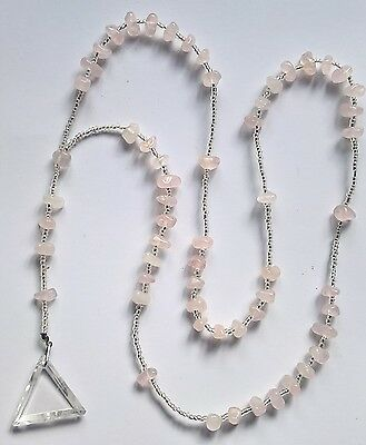 Rose/Clear Quartz Triangle necklace from casa dom inacio blessed by John of God