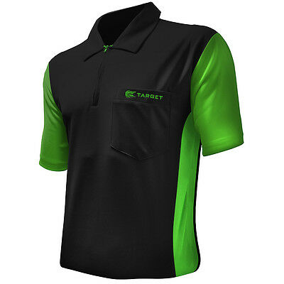 Target Coolplay 3 Darts Shirt - Breathable - Black with Green - Small to 5XL
