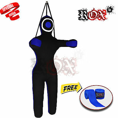 Grappling Dummy Training Bags Black Blue Hanging with BlueHandwrap 6 ft FREE