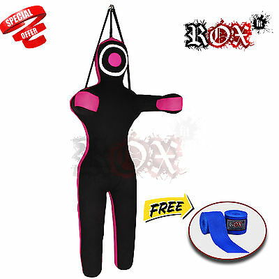 Grappling Dummy Training Bags Black Pink Hanging with Blue Handwrap 6 ft FREE